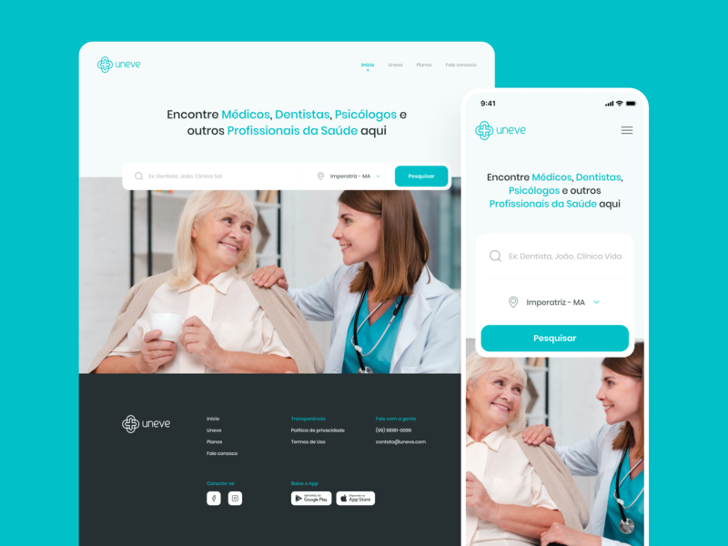 Uneve Landing Page cyan blue hero search banner landing landing page health mobile hero banner website figma visual design user interface minimal flat ui design