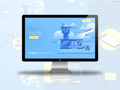 Gapura Airport System illustration web ui  ux design design ui