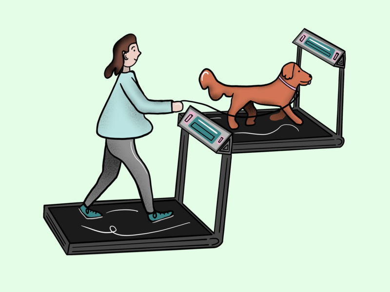Going for a Treadmill woman treadmill walk product illustration illustration