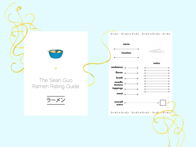 Ramen Rating Guide vector flat design noodles guide ramen branding design illustration