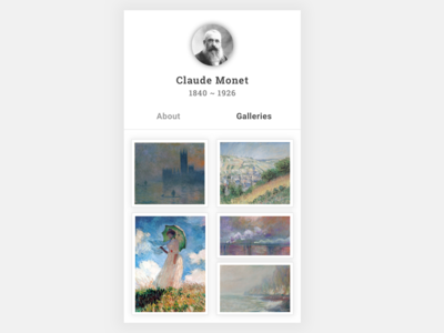 #6 Daily UI Challenge / Monet Profile Page
