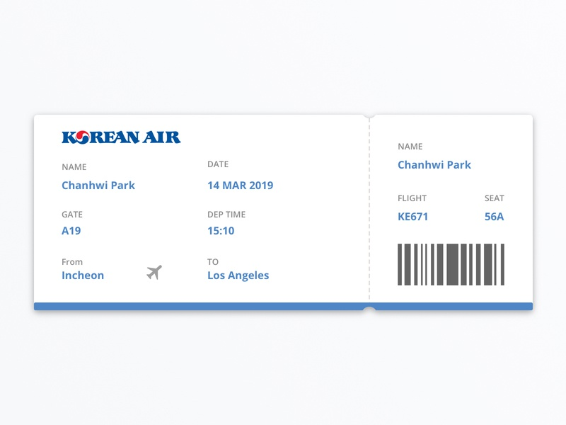 #24 Daily UI Challenge / Boarding Pass design korean air flight ticket flight ticket boarding pass dailyui 024 dailyui ui dailyuichallenge