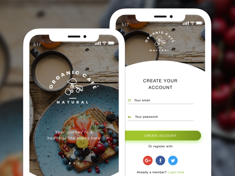 001 Sign Up | DailyUI organic food web design flat ux app ui