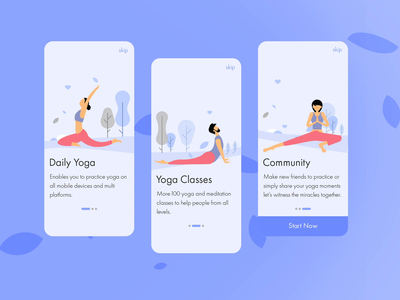 Onboarding Design Concept for Daily Yoga App purple ux adobe after effects after effects animation after effects motion interaction design ui  ux animation flat dailyuichallenge rigging yoga daily yoga dailyui 023 dailyui ui