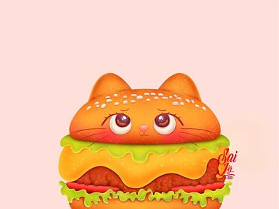 Kawaii cat burger / Hamburguesa gatuna kawaii symbol cute art kawaii art concept creative color vintage animal simple visual design cat art fun food digitalart digital brand arte artwork adorable
