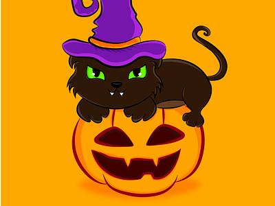 Halloween Cat / Gatuno Halloween visual design photoshop animation adorable lovely colors cat cute kawaii halloween party halloween art creative concept color animal digitalart cute art artwork arte adorable