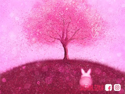 Cherry blossom - Sakura tree magic wand magical magic pictures picture color artist art sakura japon adorable lovely kawaii creative concept arte animal digitalart cute art artwork adorable