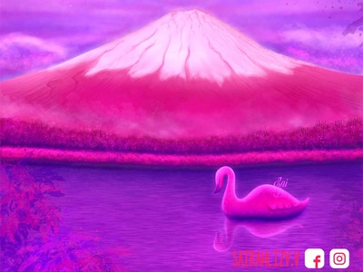 Mount Fuji, the reflection of your heart kawaii art kawaii cute illustration paisaje cute animals animals cute animal cute photoshop pictu digital cute art adorable lovely logo illustration creative concept animal digitalart adorable