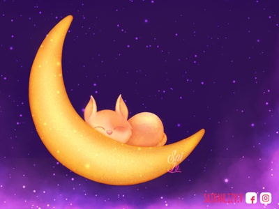 Moon cat night. Zzz artist diseño grafico diseño magician cute animal cute kawaii art moonlight magic moon color art arte kawaii adorable lovely creative concept artwork digitalart cute art