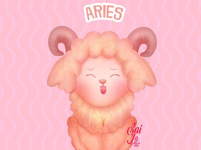 Kawaii little sheep: 3 - zodiac sign (Aries) cute illustration cute animals cute arte kawaii animal adorable lovely creative concept artwork adorable digitalart cute art