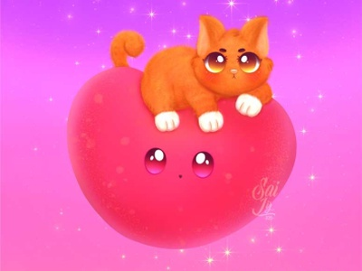 The magic Kitten arte animal kawaii adorable lovely creative concept artwork adorable cute art digitalart