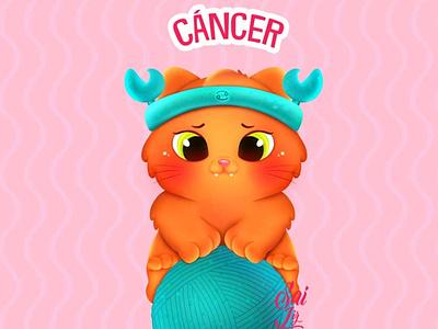 Kawaii Cancer cat - zodiac sign (Cancer) arte animal kawaii adorable lovely creative concept artwork adorable cute art digitalart