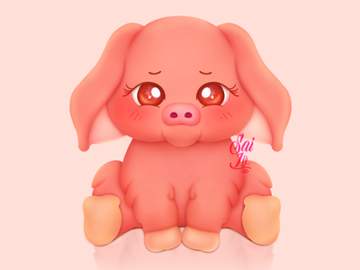 Kawaii pig art animal kawaii adorable lovely creative concept artwork adorable cute art digitalart