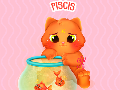 Kawaii Pisces cat - zodiac sign (Pisces) arte animal kawaii adorable lovely creative concept artwork adorable cute art digitalart