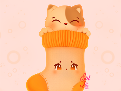 Cat sock, fluffy and warm arte animal kawaii adorable lovely creative concept artwork adorable cute art digitalart