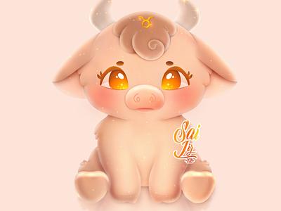 Taurus♉ kawaii - Zodiac sign. design illustration adorable lovely creative artwork concept adorable cute art digitalart