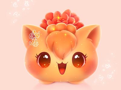 Kawaii Vulpix Pokémon pot magic ilustration cute illustration design adorable lovely creative artwork concept adorable cute art digitalart