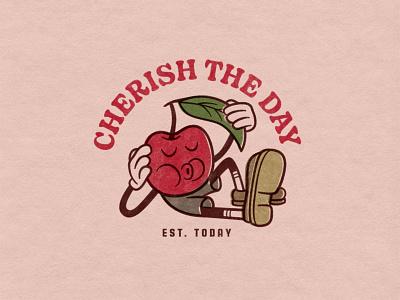 Cherish The Day cartoon illustration illustration logo cartoon cherry artwork vintage retro type photoshop drawing digitalart illustrator vector typography graphicdesign design