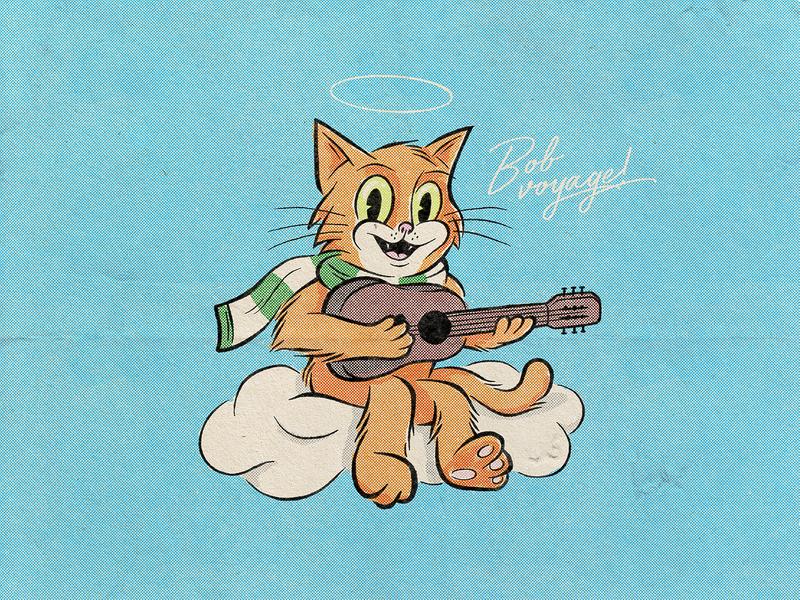 A Tribute To Bob the Street Cat cartoon procreate bobthestreetcat cat illustration photoshop drawing digitalart illustrator graphicdesign design