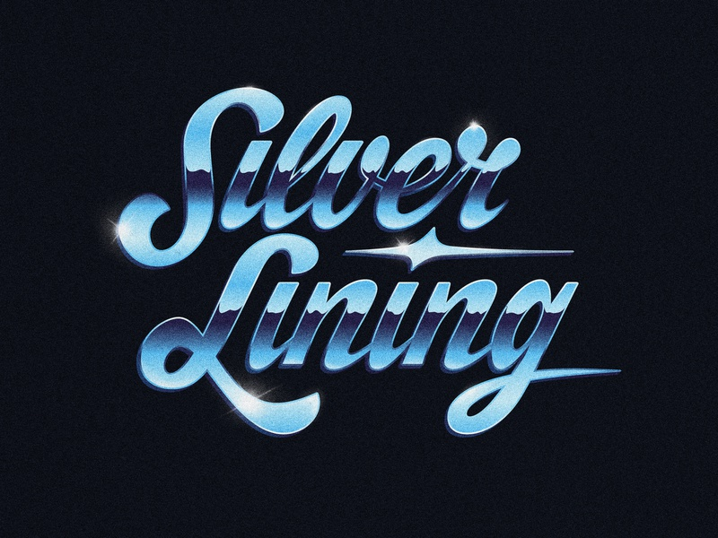 Silver Lining retro script lettering 80s chrometype handlettering drawing type photoshop lettering illustrator digitalart vector typography graphicdesign design