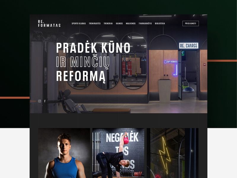 RE.FORMATAS website agency lifestyle design layout re.formatas reformatas bodybuilding fitness workout gym healthy ux ui webdesign sketch mediapark