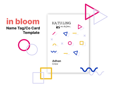 in bloom colorful id card design crew circles flatdesign abstract name card namecard card co card name tag id card vector flat icon design branding