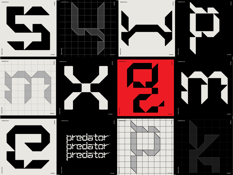 Predator Display Typeface typography type branding visual identity logo symbol icon illustration vector design