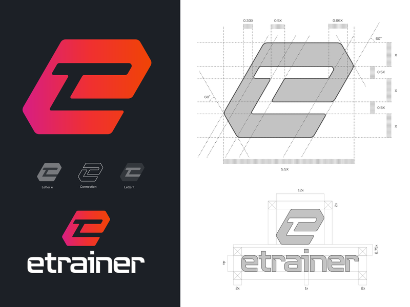 etrainer logo type logomark branding visual identity symbol logo icon illustration vector design