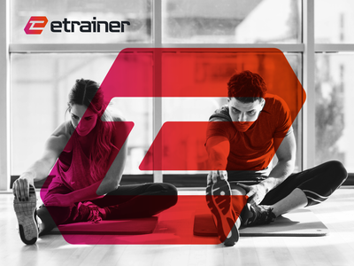 Etrainer Brand Identity logomark symbol typography branding visual identity logo icon illustration vector design