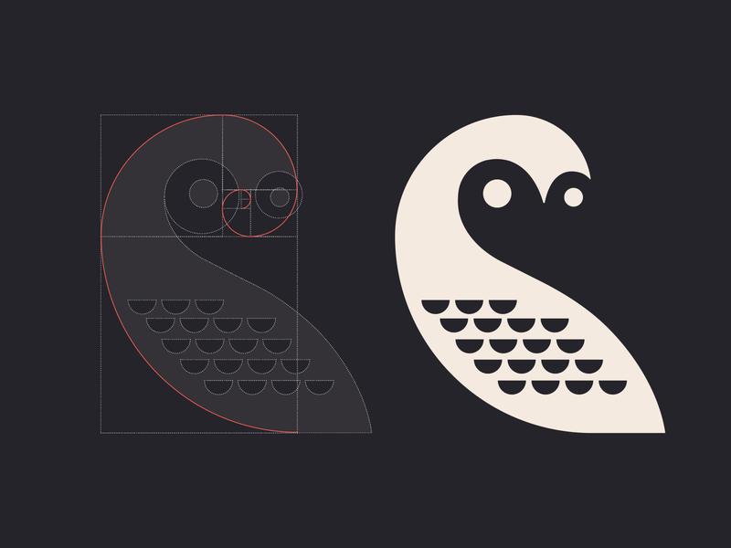 Owl mark grid logomark symbol logo branding visual identity icon illustration vector design