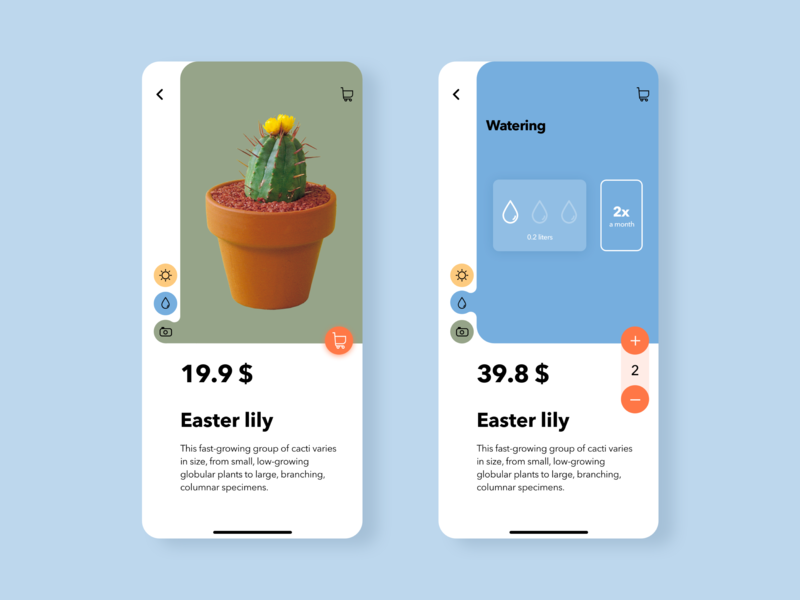 Cacti shop interface shop cactus cacti mobile ui sketch design ios app