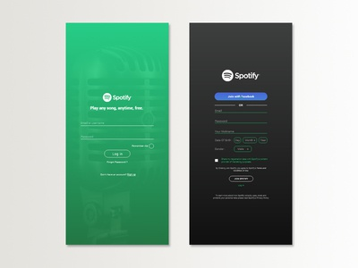 Redesign Log in & Sign Up Page Spotify Mobile Apps