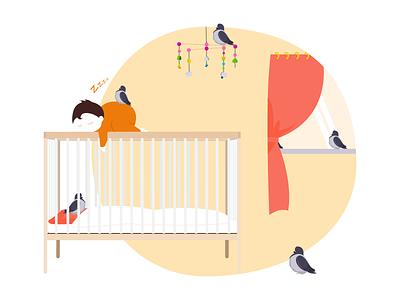 Hello Stranger friend orange harmful window bed night sleep baby pigeon art illustration