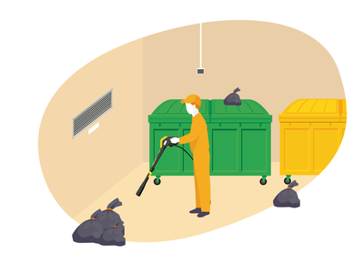 #10 Work work work work work.. karcher refuse chutes cleaning garbage bag garbage dumpster filth trash man orange sketch tech-way digital design illustrator illustration