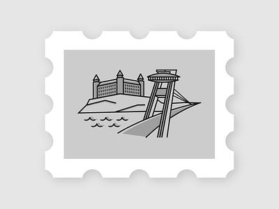 Bratislava Stamp slovakia jahodka gray black illustration bratislava city icon stamp