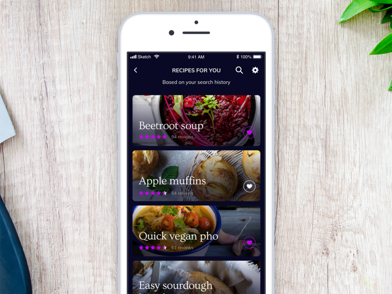Daily UI 091 - Curated for you curated for you 091 daily ui daily challenge ios mobile app food app app mobile ui interface sketch ui challenge daily 100 challenge ui dailyui