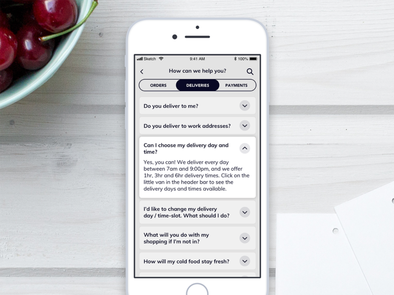 Daily UI 092 - FAQs faqs 092 daily ui daily challenge ios mobile app food app app mobile ui interface sketch ui challenge daily 100 challenge ui dailyui