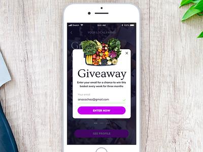 Daily UI 097 - Giveaway giveaway 097 daily ui daily challenge ios mobile app food app app mobile ui interface sketch ui challenge ui daily 100 challenge dailyui