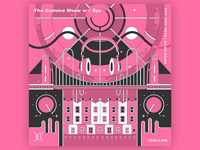 Comma Collective bright color pink digital digital illustration digitalart artwork art event flyer illustrator brand illustration dj flyer dj cover artwork cover design cover music flat design illustration