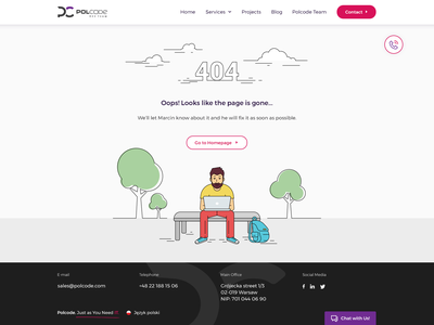 Polcode Redesign 404 ux ui landing  page technologies softwarehouse services redesign poland violet pink more landing page header gallery footer agency about us