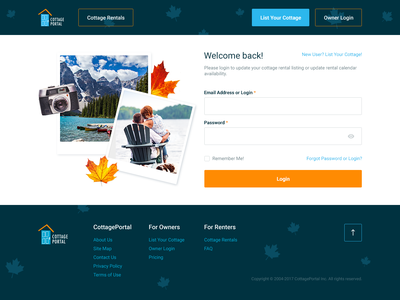 Cottage Portal Redesign form message login landing page webdesign redesign. ux  ui ux search results redesign pricing map list holidays featured cottage canada calendar