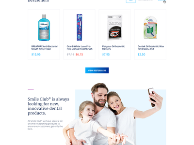 Smile Club webdesign website ux ui menu reviews description cart shopping featured landing page products tooth family smile ecommerce store dentist