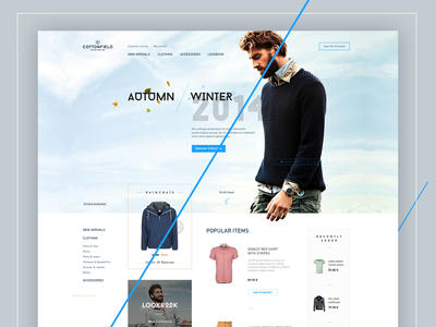 Cottonfield lookbook featured winter autumn menu products website ui landing page ux redesign design store ecommerce webdesign