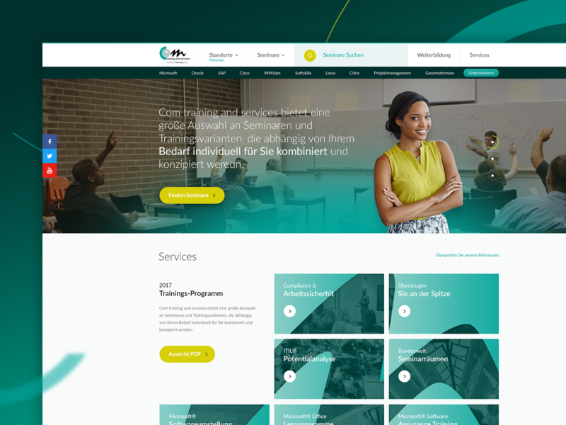Training Platform Redesign review social media green yellow germany learning platform locations slider gradient services boxes learning search ux redesign menu website ui webdesign landing page