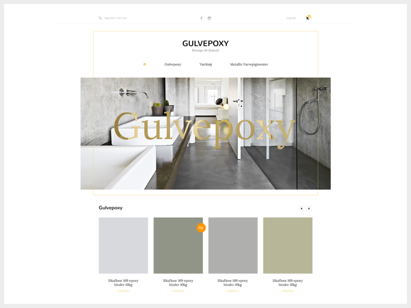 Gulvepoxy design shopping cart minimalistic clean whitespace products typography ux webdesign ui store search menu website landing page ecommerce