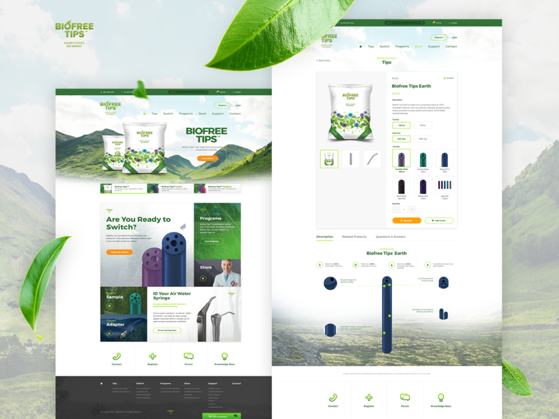 Biofree Tip menu chat ui homepage dentists footer leaves green product ux redesign store ecommerce search website webdesign landing page nature