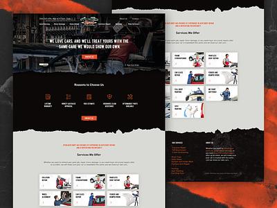 Ryan Auto Body webdesign homepage typography design ux heritage auto car boxes dark paint grunge mechanic footer orange logo menu website ui landing page