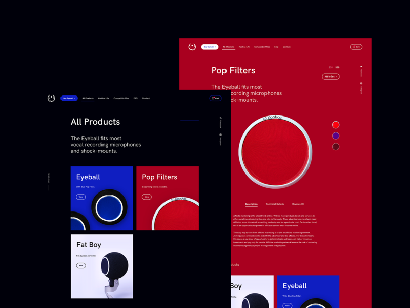 Eyeball Redesign - Products music dark boxes featured menu design ux minimalistic red products add to cart product store ecommerce redesign website ui webdesign