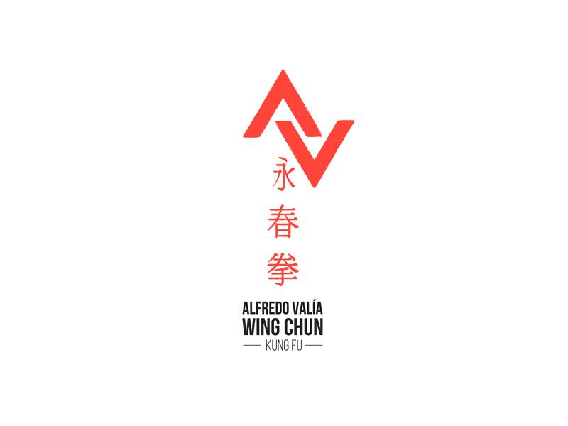 Alfredo Valía Wing Chun Kung Fu monogram typography handmade minimal icon vector logo design branding