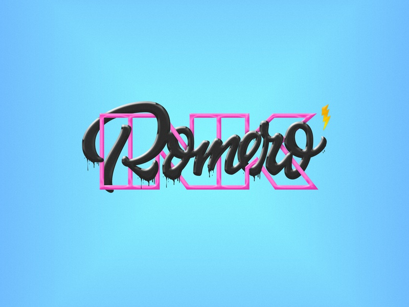 Romero Ink Tattoo Artist logotype tattoo art romero ink madrid lettering handmade tattoo artist logo branding
